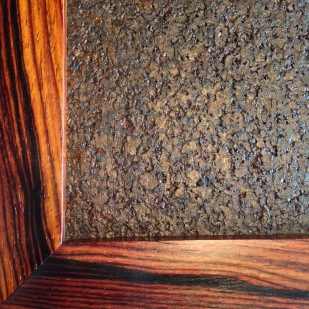 Cocobolo cork board frame.