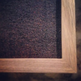 White Oak cork board frame.