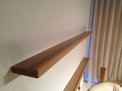 Two, eight foot Oak shelves.
